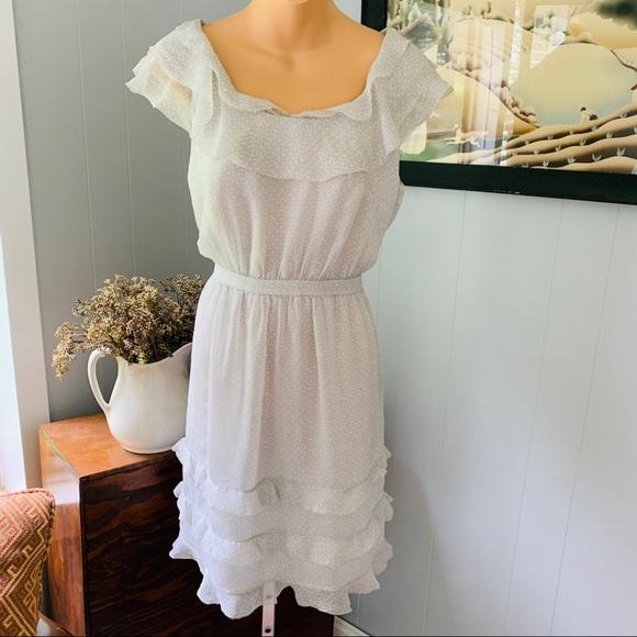 J. Crew Dresses & Skirts - J. CREW pretty frilly dress! SILK! Like NEW!